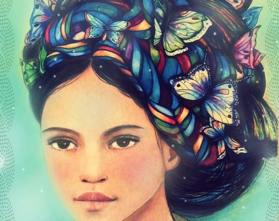 female empowerment,art print ,drawing, love, portrait artwork ,claudia tremblay Butterfly queen