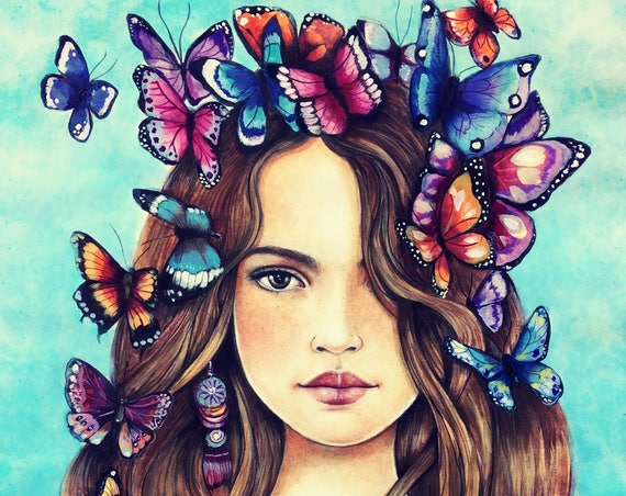 female empowerment, art print ,woman artwork,  portrait artwork ,claudia tremblay Butterflies on her mind.