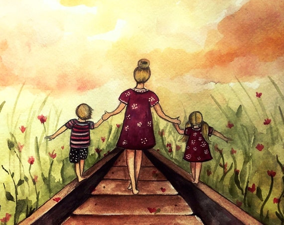 "Mother and two children ""our path"" art print, gift idea mother's day"