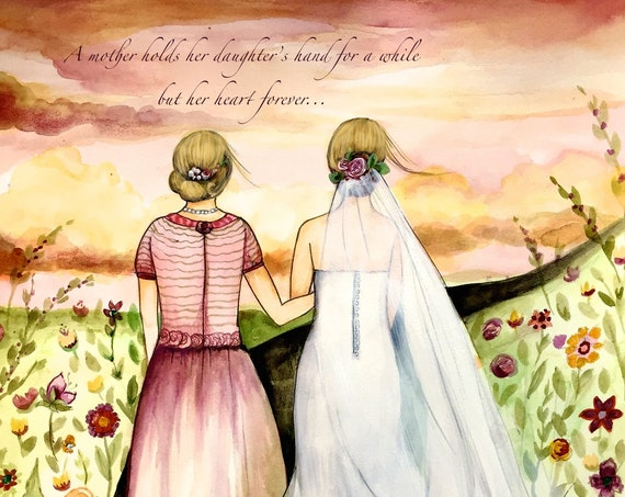 Blonde Mother and daughter wedding day  gift idea art print