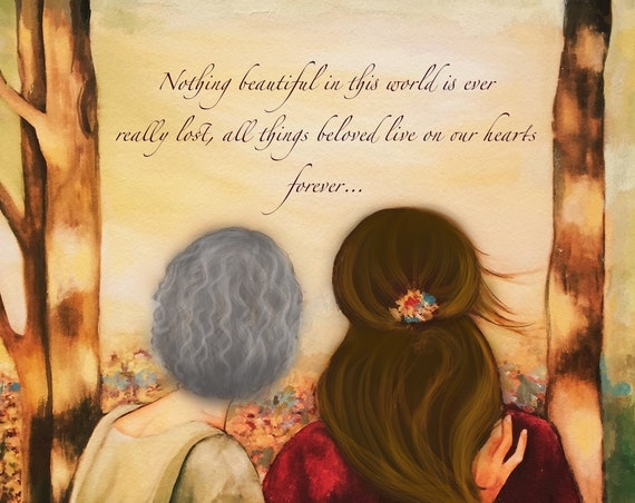 "Mother and daughter ""our walk"" mothers day gift idea art print"