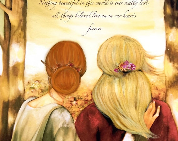 """Mother red hair  and blonde daughter """"our walk"""" art print Nothing beautiful in this world..."""