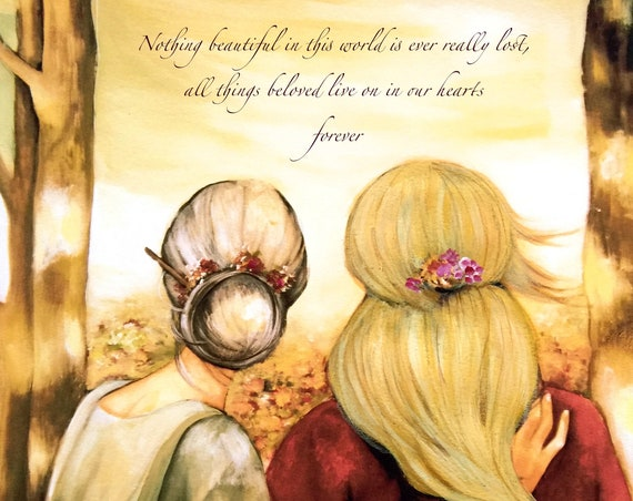 "Mother and blonde daughter ""our walk"" art print Nothing beautiful in this world..."