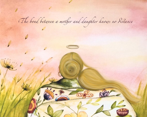 gift for mom, wall art decor, love, artwork, gift for  daughter, The bond between a mother and daughter knows no distance