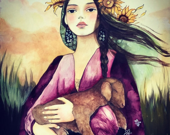 Woman with lamb,  art print ,woman artwork,  portrait artwork ,claudia tremblay dreamy girl with giant leaves  art print
