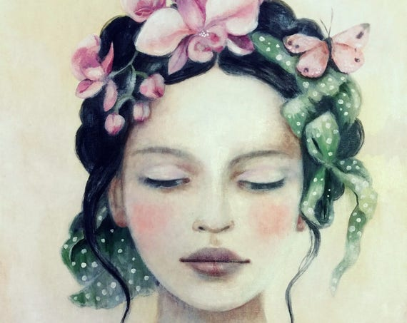 female empowerment, art print ,woman artwork,  portrait artwork ,claudia tremblay The green ribbon