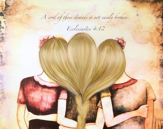Sibling gift, Three blonde hair sisters best friends art print