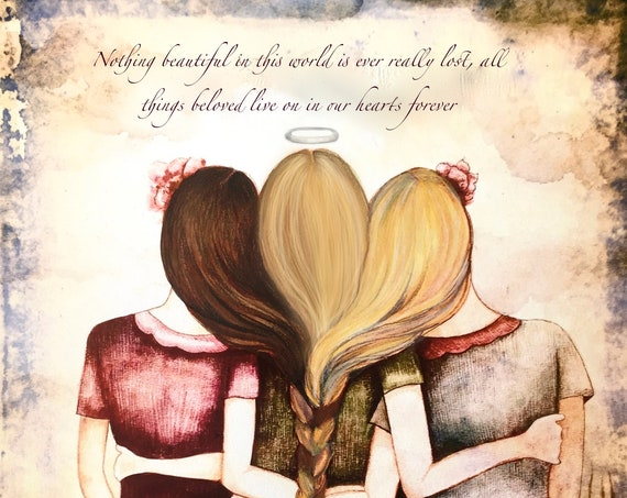 Sibling gift, sister gift to sister, gift for friend, intertwined hair, braided hair ,wall art gift for sister 3 sisters with quote.