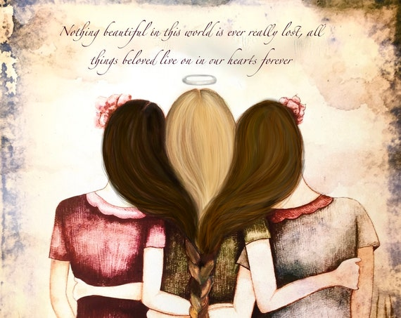 3 sisters with braided hair and quote.