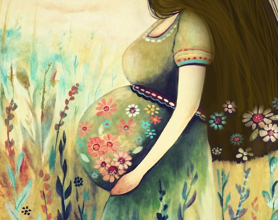 gift for mom, wall art decor, love, artwork, gift for  daughter, Pregnant woman art print