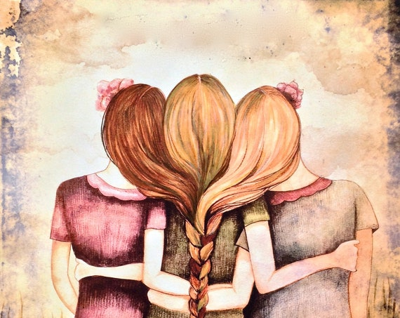 Three sisters art print blondes and redhead intertwined braids