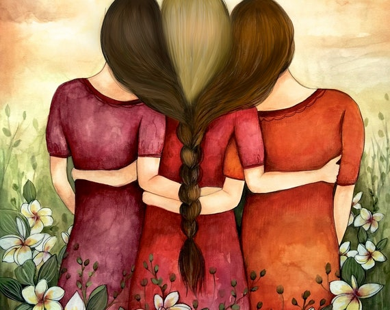 Sibling gift, Three sisters best friends intertwined braids