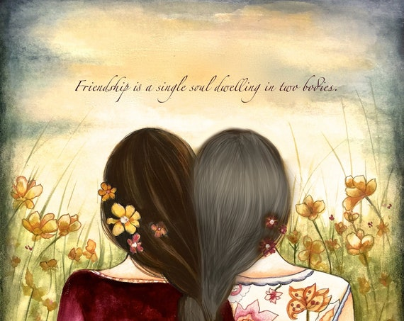 Sibling gift, Two  sisters or best friends  with grey hair art print