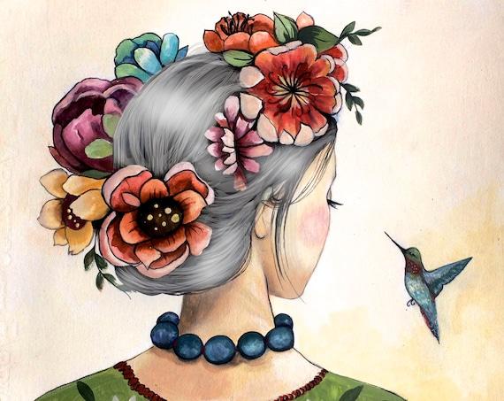 female empowerment, silver hair queen, love, portrait artwork ,claudia tremblay Hummingbird art print