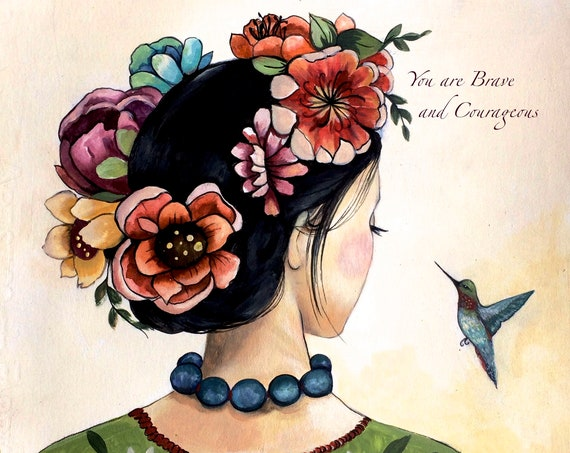 female empowerment, art print ,woman artwork,  portrait artwork ,claudia tremblay the hummingbird
