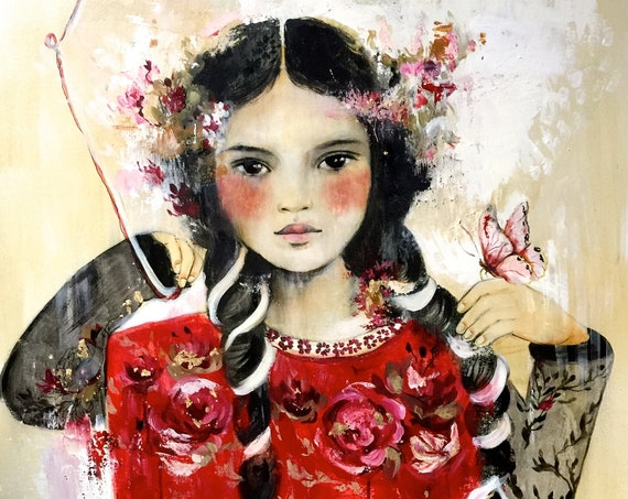 Latin inspired  art,drawing, love, portrait artwork ,claudia tremblay flowers in her hair, vintage .