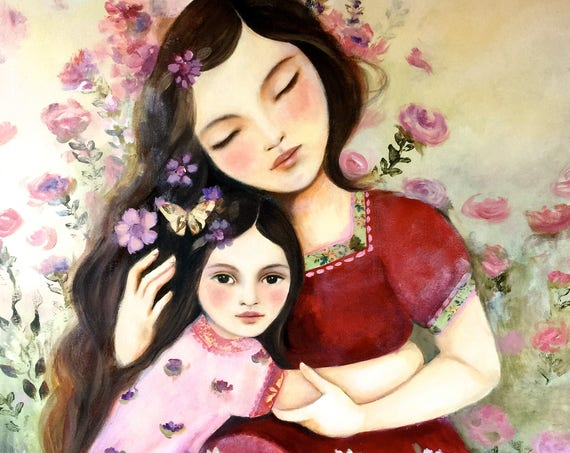 "Mother and daughter ""the embrace"" art print"