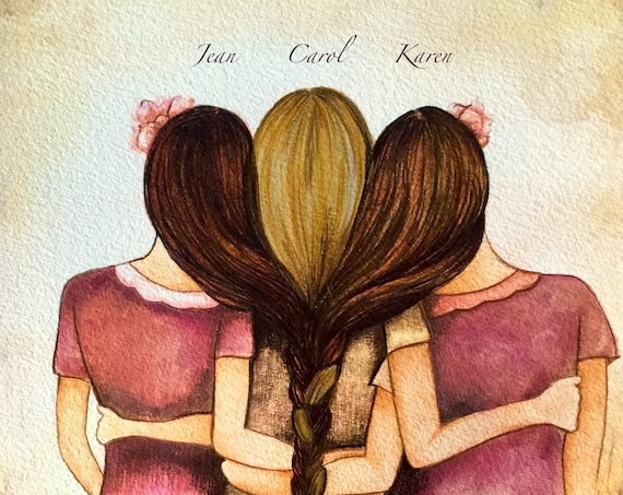 Tree sisters art print with your custom names