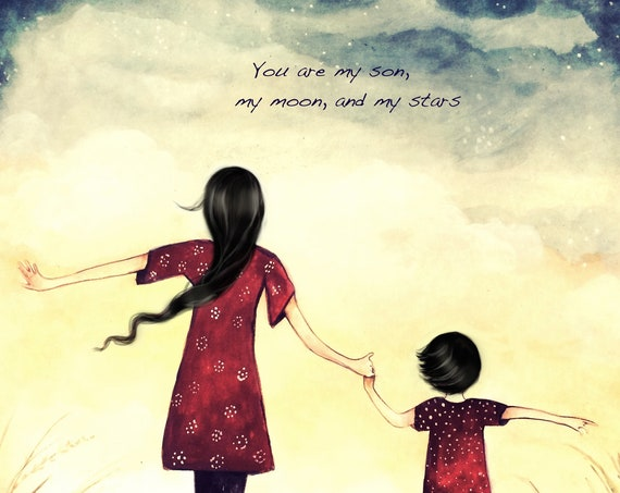 Mother and son you are my moon and my star art print, gift idea mother's day with quote