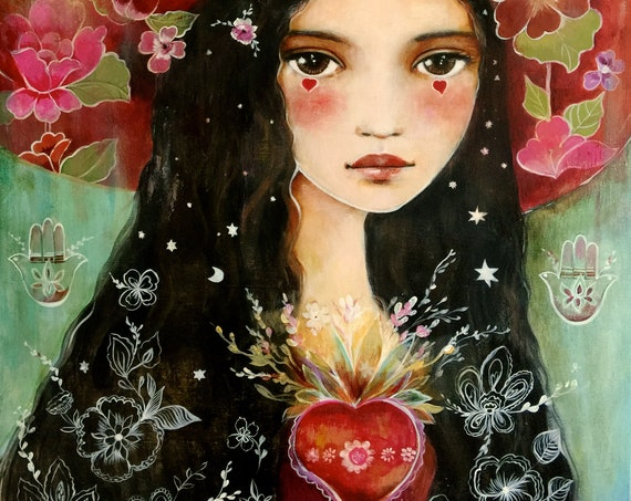 Santa Fe inspired, new mexico, art print ,drawing, love, portrait artwork ,claudia tremblay
