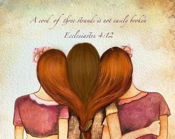 Three sisters best friends intertwined braids