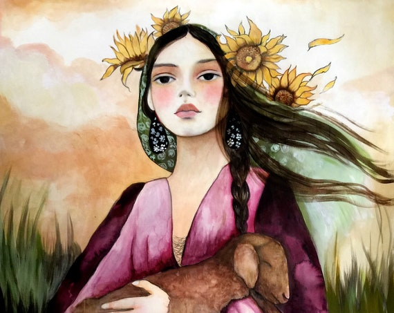 woman with sunflowers and sheep ORIGINAL art work