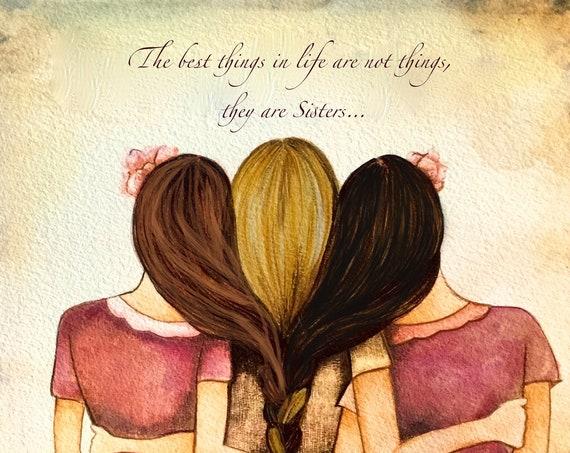 Sibling gift, Three sisters best friends  with brown hair art print