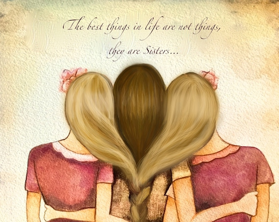 sister gift to sister, gift for friend, intertwined hair, braided hair ,wall art gift for sister Three sisters best friends bridesmaid gift