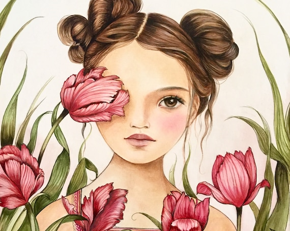 female empowerment,art print ,drawing, love, portrait artwork ,claudia tremblay Tulips are my favourite