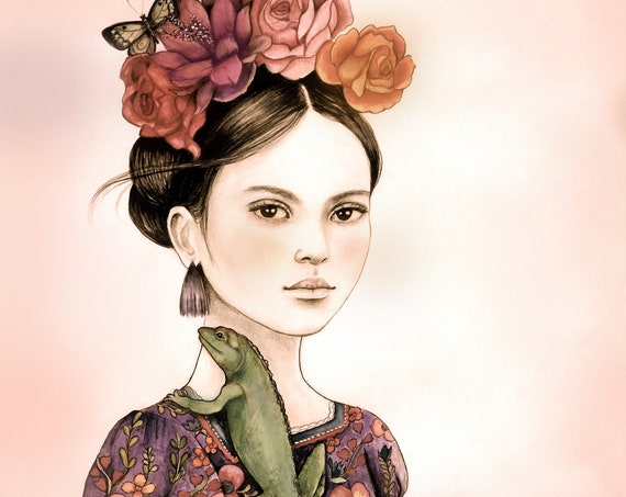 female empowerment,art print ,drawing, love, portrait artwork ,claudia tremblay flowers in her hair..