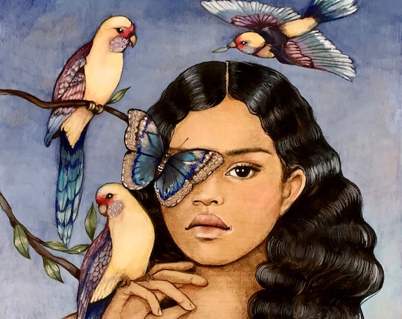 Ava  and birds ,print , watercolour, gift for girl or woman