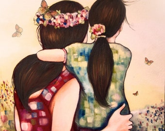 Mother daughter art print, gift idea mother's day
