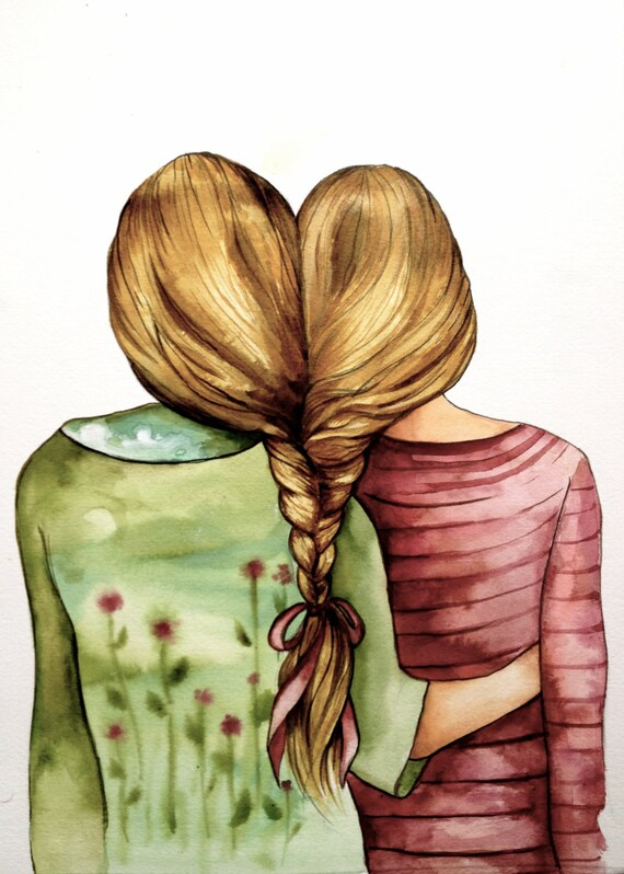 Sisters art print gift idea