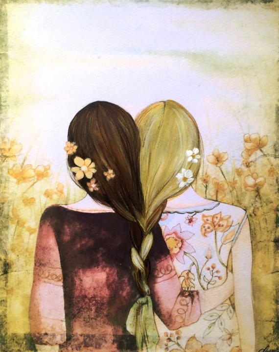 Sibling gift, blonde and brown hair sisters best friends art print