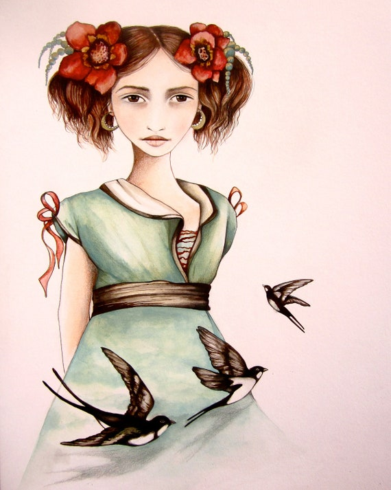 girl with swallows..art print decor