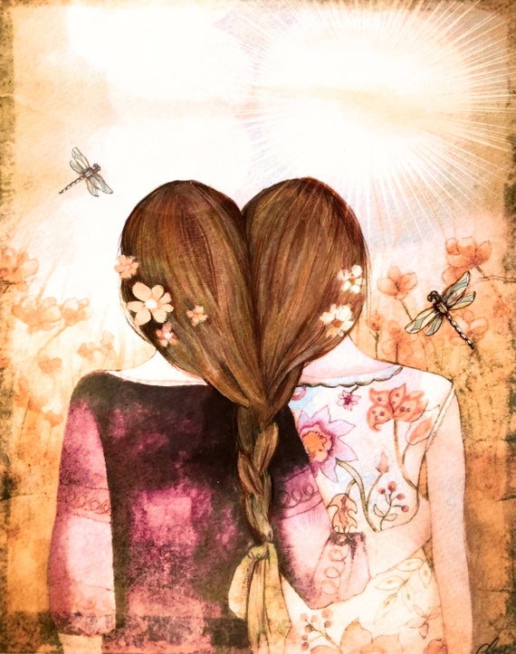 Siblings gift, twins,best friends,sisters dark blonde brownish hair  art print with dragonfly