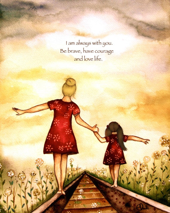 """gift for mom, brown hair blond hair, gift for  daughter, Mother and daughter """"our path"""" art print, gift idea mother's day"""