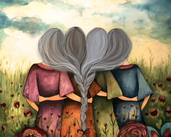 sister gift to sister, gift for friend, intertwined hair, braided hair ,wall art gift for sister The four sisters best friends grey hair