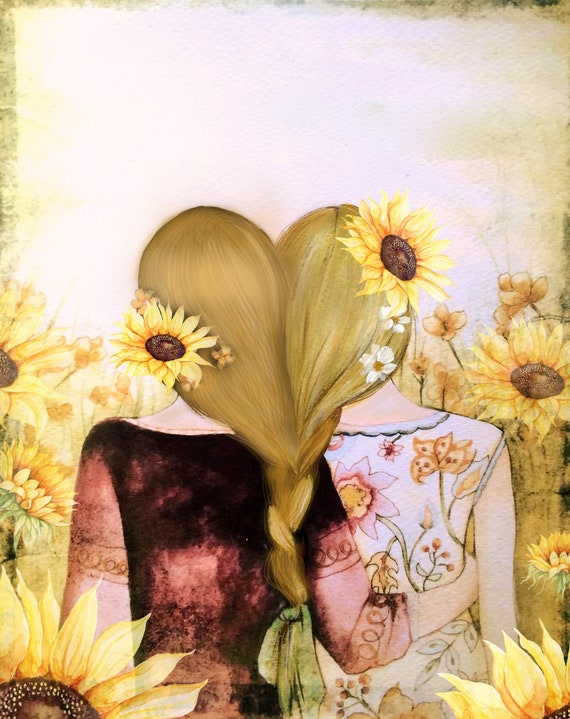 Sibling gift, Art print sisters best friends  gift idea  with  blonde  braided hair and sunflowers