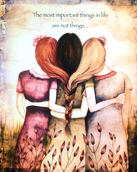 Sibling gift, Three sisters best friends  with red hair, black and blonde art print
