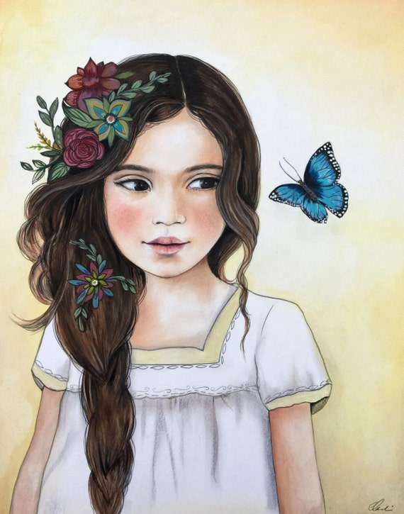 female empowerment, art print ,woman artwork,  portrait artwork ,claudia tremblay The blue butterfly