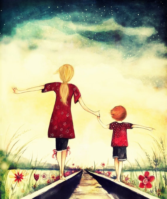 Mother and son  art print, gift idea