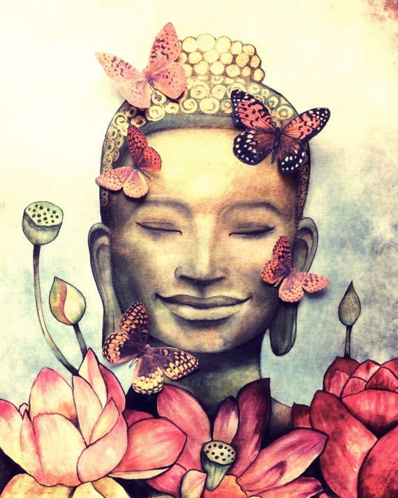 smiling buddha version original  art print