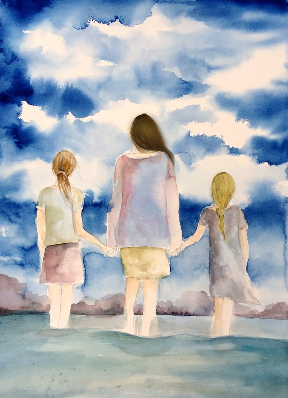 gift for mom, wall art decor, love, artwork, gift for  daughter, mother and and two daughters by the ocean