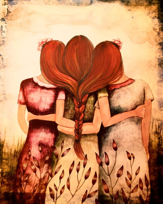 Siblings gift, Art print sisters best friends  gift idea  with red and blonde hair