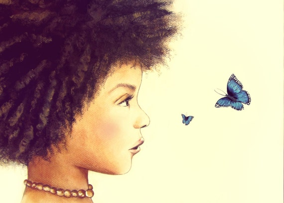 blue butterflie and child art print