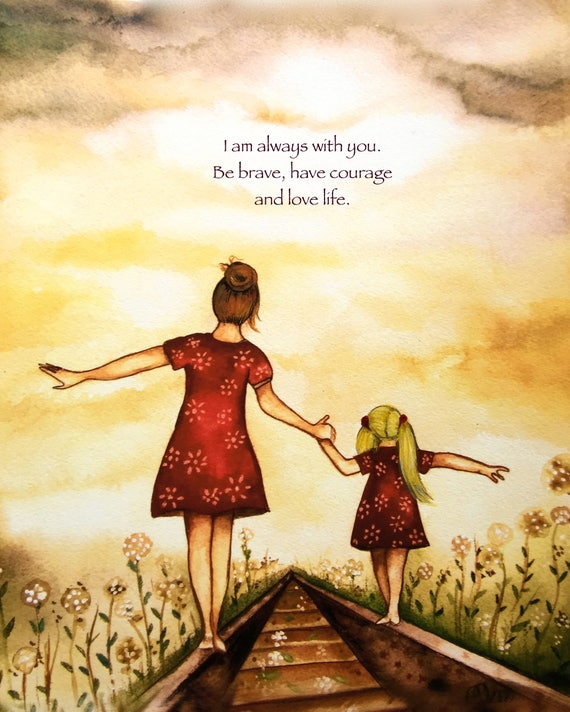 "Brownish hairMother and Blonde daughter ""our path"" art print"