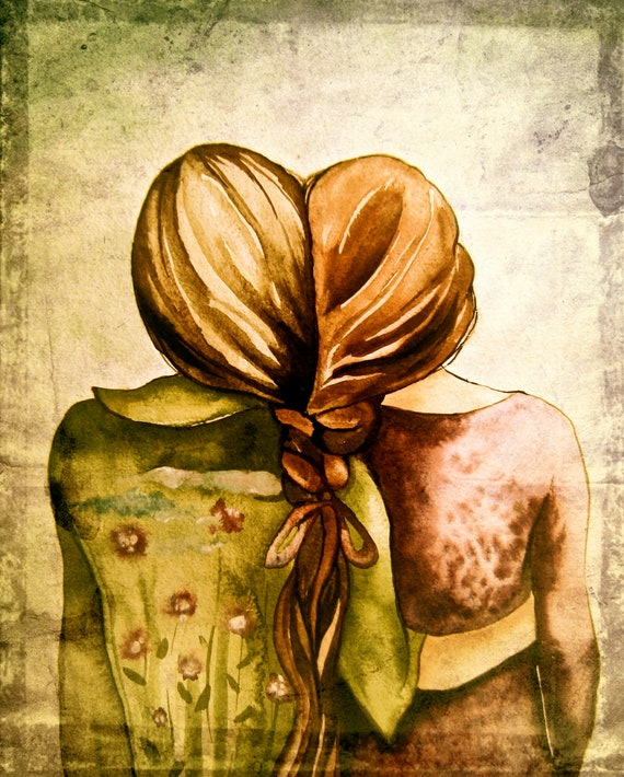 Art print 2 sisters best friends  gift idea with  hair intertwined braids