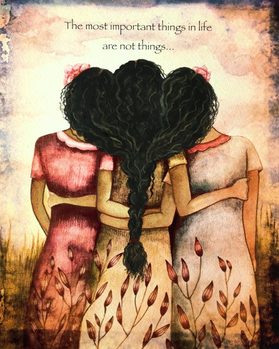 Three sisters best friends black curly hair gift idea