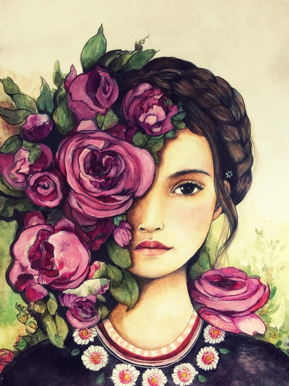 female empowerment, art print ,woman artwork,  portrait artwork ,claudia tremblay Rose Garden